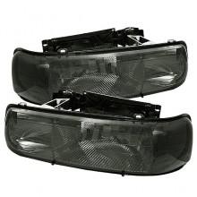 1999-2002 Chevy Silverado 1500/2500 Amber Crystal HeadLights (PAIR) - Smoke (Spyder Auto)