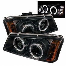 2003-2006 Chevy Silverado 1500/2500/3500 Projector HeadLights (PAIR) - LED Halo - LED ( Replaceable LEDs ) - Amber Reflector - Black - High H1 (Included) - Low H1 (Included) (Spyder Auto)