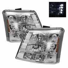 2003-2006 Chevy Silverado 1500/2500/3500 1PC W/ Bumper Lights (PAIR) ( Require GRI-SP-CS03-CT Grille ) LED ( Replaceable LEDs ) Crystal Headlights - Chrome (Spyder Auto)