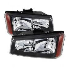 2003-2006 Chevy Silverado 1500/2500/3500 Crystal HeadLights (PAIR) - Black (Spyder Auto)