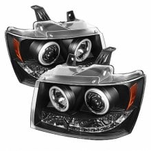 2007-2013 Chevy Suburban 1500/2500 Projector HeadLights (PAIR) - CCFL Halo - LED ( Replaceable LEDs ) - Black - High H1 (Included) - Low H1 (Included) (Spyder Auto)