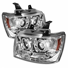 2007-2013 Chevy Suburban 1500/2500 Projector HeadLights (PAIR) - CCFL Halo - LED ( Replaceable LEDs ) - Chrome - High H1 (Included) - Low H1 (Included) (Spyder Auto)