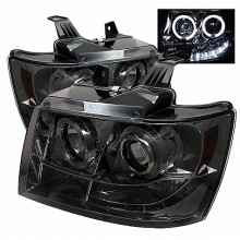 2007-2013 Chevy Suburban 1500/2500 Projector HeadLights (PAIR) - LED Halo - LED ( Replaceable LEDs ) - Smoke - High H1 (Included) - Low H1 (Included) (Spyder Auto)