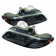 1996-2000 Dodge Caravan Amber Crystal HeadLights (PAIR) - Black (Spyder Auto)