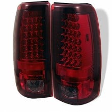 1999-2003 GMC Sierra 1500/2500/3500 LED Tail Lights (PAIR) - Red Smoke (Spyder Auto)