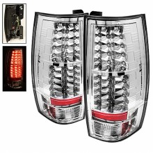 2007-2014 Chevy Suburban - LED Tail Lights (PAIR) - Chrome (Spyder Auto)