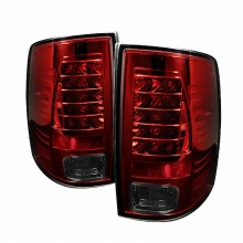 2009-2012 Dodge Ram 1500 LED Tail Lights (PAIR) - Red Smoke (Spyder Auto)