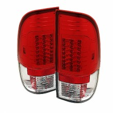 1997-2003 Ford F150 Styleside Version 2 LED Tail Lights (PAIR) - Red Clear (Spyder Auto)