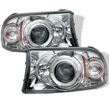 1998-2003 Dodge Durango 1PC Projector HeadLights (PAIR) - LED Halo - LED ( Replaceable LEDs ) - Chrome - High H1 (Included) - Low H1 (Included) (Spyder Auto)