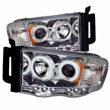 2002-2005 Dodge Ram 1500 Projector HeadLights (PAIR) - CCFL Halo - LED ( Replaceable LEDs ) - Chrome - High H1 (Included) - Low H1 (Included) (Spyder Auto)
