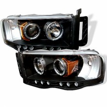 2002-2005 Dodge Ram 1500 Projector HeadLights (PAIR) - LED Halo - LED ( Replaceable LEDs ) - Black - High H1 (Included) - Low H1 (Included) (Spyder Auto)