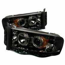 2002-2005 Dodge Ram 1500 Projector HeadLights (PAIR) - LED Halo - LED ( Replaceable LEDs ) - Smoke - High H1 (Included) - Low H1 (Included) (Spyder Auto)