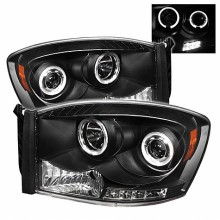 2006-2008 Dodge Ram 1500 Projector HeadLights (PAIR) - LED Halo - LED ( Replaceable LEDs ) - Black - High H1 (Included) - Low H1 (Included) (Spyder Auto)