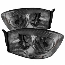 2006-2008 Dodge Ram 1500 Projector HeadLights (PAIR) - LED Halo - LED ( Replaceable LEDs ) - Smoke - High H1 (Included) - Low H1 (Included) (Spyder Auto)