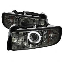 1994-2001 Dodge Ram 1500 Projector HeadLights (PAIR) - ( Do Not Fit Sport Model ) - CCFL Halo - LED ( Replaceable LEDs ) - Smoke - High H1 (Included) - Low H1 (Included) (Spyder Auto)