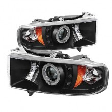 1999-2001 Dodge Ram 1500 Projector HeadLights (PAIR) - ( Sport Model Only ) - CCFL Halo - LED ( Replaceable LEDs ) - Black - High H1 (Included) - Low H1 (Included) (Spyder Auto)