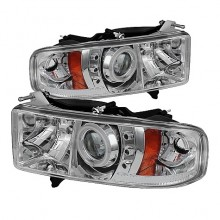 1999-2001 Dodge Ram 1500 Projector HeadLights (PAIR) - ( Sport Model Only ) - CCFL Halo - LED ( Replaceable LEDs ) - Chrome - High H1 (Included) - Low H1 (Included) (Spyder Auto)