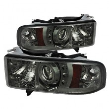 1999-2001 Dodge Ram 1500 Projector HeadLights (PAIR) - ( Sport Model Only ) - CCFL Halo - LED ( Replaceable LEDs ) - Smoke - High H1 (Included) - Low H1 (Included) (Spyder Auto)