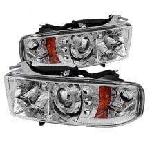 1999-2001 Dodge Ram 1500 Projector HeadLights (PAIR) - ( Sport Model Only ) - LED Halo - LED ( Replaceable LEDs ) - Chrome - High H1 (Included) - Low H1 (Included) (Spyder Auto)
