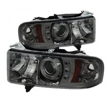 1999-2001 Dodge Ram 1500 Projector HeadLights (PAIR) - ( Sport Model Only ) - LED Halo - LED ( Replaceable LEDs ) - Smoke - High H1 (Included) - Low H1 (Included) (Spyder Auto)