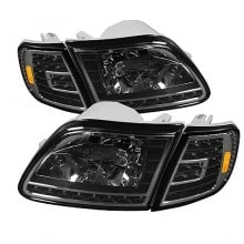 1997-2003 Ford F150 Crystal HeadLights (PAIR) W/ Clear LED Corners - Black (Spyder Auto)