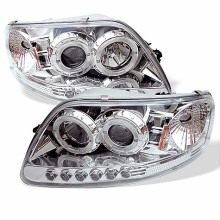 1997-2003 Ford F150 1PC Projector HeadLights (PAIR) - ( Will Not Fit Manufacture Date Before 6/1997 ) - LED Halo - Amber Reflector - LED ( Replaceable LEDs ) - Chome - High 9005 (Included) - Low H3 (Included) (Spyder Auto)