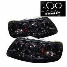 1997-2003 Ford F150 1PC Projector HeadLights (PAIR) - ( Will Not Fit Manufacture Date Before 6/1997 ) - LED Halo - Amber Reflector - LED ( Replaceable LEDs ) - Smoke - High 9005 (Included) - Low H3 (Included) (Spyder Auto)