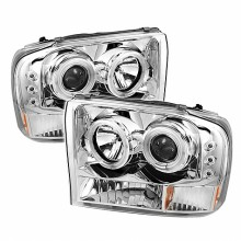 1999-2004 Ford F250 Super Duty 1PC Projector HeadLights (PAIR) - Version 2 - CCFL Halo - LED ( Replaceable LEDs ) - Chrome - High H1 (Included) - Low H1 (Included) (Spyder Auto)