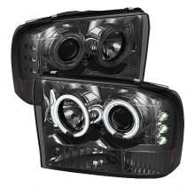1999-2004 Ford F250 Super Duty 1PC Projector HeadLights (PAIR) - Version 2 - CCFL Halo - LED ( Replaceable LEDs ) - Smoke - High H1 (Included) - Low H1 (Included) (Spyder Auto)