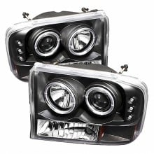 1999-2004 Ford F250 Super Duty 1PC Projector HeadLights (PAIR) - Version 2 - LED Halo - LED ( Replaceable LEDs ) - Black - High H1 (Included) - Low H1 (Included) (Spyder Auto)