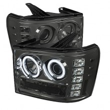 2007-2013 GMC Sierra 2500HD/3500HD Projector HeadLights (PAIR) - CCFL Halo- LED ( Replaceable LEDs ) - Smoke - High H1 (Included) - Low H1 (Included) (Spyder Auto)
