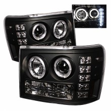 2007-2013 GMC Sierra 2500HD/3500HD Projector HeadLights (PAIR) - LED Halo- LED ( Replaceable LEDs ) - Black - High H1 (Included) - Low H1 (Included) (Spyder Auto)