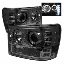 2007-2013 GMC Sierra 2500HD/3500HD Projector HeadLights (PAIR) - LED Halo- LED ( Replaceable LEDs ) - Smoke - High H1 (Included) - Low H1 (Included) (Spyder Auto)