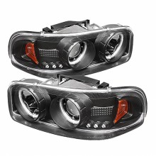 2000-2006 GMC Yukon Projector HeadLights (PAIR) - CCFL Halo - LED ( Replaceable LEDs ) - Black - High 9005 (Not Included) - Low 9006 (Included) (Spyder Auto)