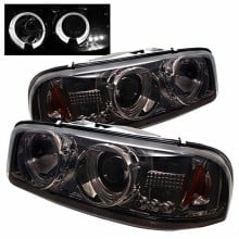 2000-2006 GMC Yukon Projector HeadLights (PAIR) - LED Halo - LED ( Replaceable LEDs ) - Smoke - High 9005 (Not Included) - Low 9006 (Included) (Spyder Auto)