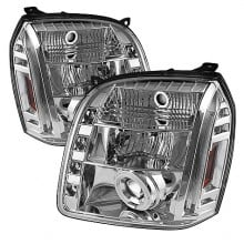 2007-2013 GMC Yukon XL Projector HeadLights (PAIR) - CCFL Halo - LED ( Replaceable LEDs ) - Chrome - High H1 (Included) - Low H1 (Included) (Spyder Auto)