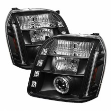 2007-2013 GMC Yukon XL Projector HeadLights (PAIR) - LED Halo - LED ( Replaceable LEDs ) - Black - High H1 (Included) - Low H1 (Included) (Spyder Auto)