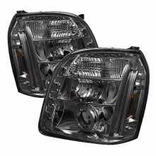 2007-2013 GMC Yukon XL Projector HeadLights (PAIR) - LED Halo - LED ( Replaceable LEDs ) - Smoke - High H1 (Included) - Low H1 (Included) (Spyder Auto)