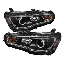 2008-2013 Mitsubishi Lancer EVO-10 Projector HeadLights (PAIR) - Halogen Model Only ( Not Compatible With Xenon/HID Model ) - LED Halo - DRL - Black - High H1 (Included) - Low H7 (Included) (Spyder Auto)