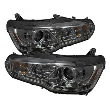 2008-2013 Mitsubishi Lancer EVO-10 Projector HeadLights (PAIR) - Halogen Model Only ( Not Compatible With Xenon/HID Model ) - LED Halo - DRL - Smoke - High H1 (Included) - Low H7 (Included) (Spyder Auto)