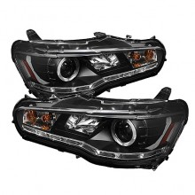 2008-2013 Mitsubishi Lancer EVO-10 Projector HeadLights (PAIR) - Xenon/HID Model Only ( Not Compatible With Halogen Model ) - LED Halo - DRL - Black - High H1 (Included) - Low D2R (Not Included) (Spyder Auto)