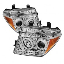 2005-2007 Nissan Pathfinder Projector HeadLights (PAIR) - CCFL Halo - LED ( Replaceable LEDs ) - Chrome - High H1 (Included) - Low H1 (Included) (Spyder Auto)