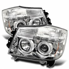 2004-2007 Nissan Armada Projector HeadLights (PAIR) - LED Halo - LED ( Replaceable LEDs ) - Chrome - High H1 (Included) - Low H1 (Included) (Spyder Auto)