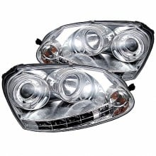 2006-2009 Volkswagen GTI Projector HeadLights (PAIR) - Halogen Model Only ( Not Compatible With Xenon/HID Model ) - LED Halo - DRL - Chrome - High H1 (Included) - Low H7 (Not Included) (Spyder Auto)