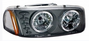 1999-2006 GMC SIERRA HEADLIGHTS (PAIR) HALO BLACK W/ LED AMBER   (Anzo USA)