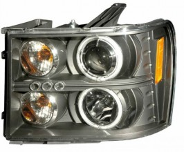 2007-2008 GMC SIERRA PROJECTOR HEADLIGHTS (PAIR) HALO BLACK CLEAR AMBER(CCFL)  (Anzo USA)
