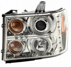 2007-2008 GMC SIERRA PROJECTOR HEADLIGHTS (PAIR) HALO CHROME CLEAR AMBER(CCFL)  (CG Distribution)