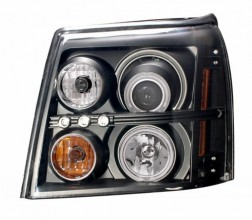 2003-2006 CADILLAC ESCALADE PROJECTOR HEADLIGHTS (PAIR) HALO BLACK CLEAR AMBER(HID COMPATIBLE& CCFL)  (CG Distribution)