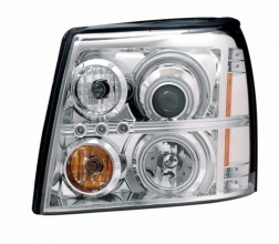 2003-2006 CADILLAC ESCALADE PROJECTOR HEADLIGHTS (PAIR) HALO CHROME CLEAR AMBER(HID COMPATIBLE& CCFL)  (Anzo USA)