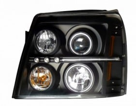 2002 CADILLAC ESCALADE PROJECTOR HEADLIGHTS (PAIR) HALO BLACK CLEAR AMBER(CCFL)  (Anzo USA)